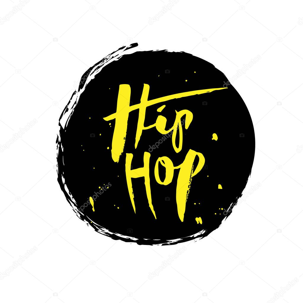 Hip Hop, ink hand lettering. Modern brush calligraphy. Isolated vector illustration yellow text on the black background. Lettering design for print, posters, postcard, banner, invitation, sticker
