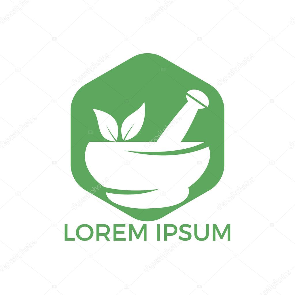 Pharmacy medical logo design. Natural mortar and pestle logotype, medicine herbal illustration symbol icon vector design.
