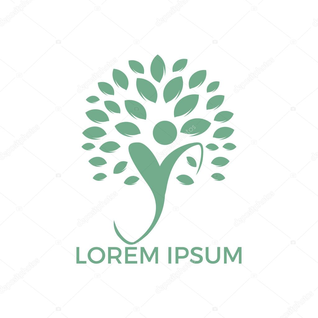 Logo with abstract human figure and green leaves of tree. Original emblem for self development center or yoga classes. Natural and healthy living.