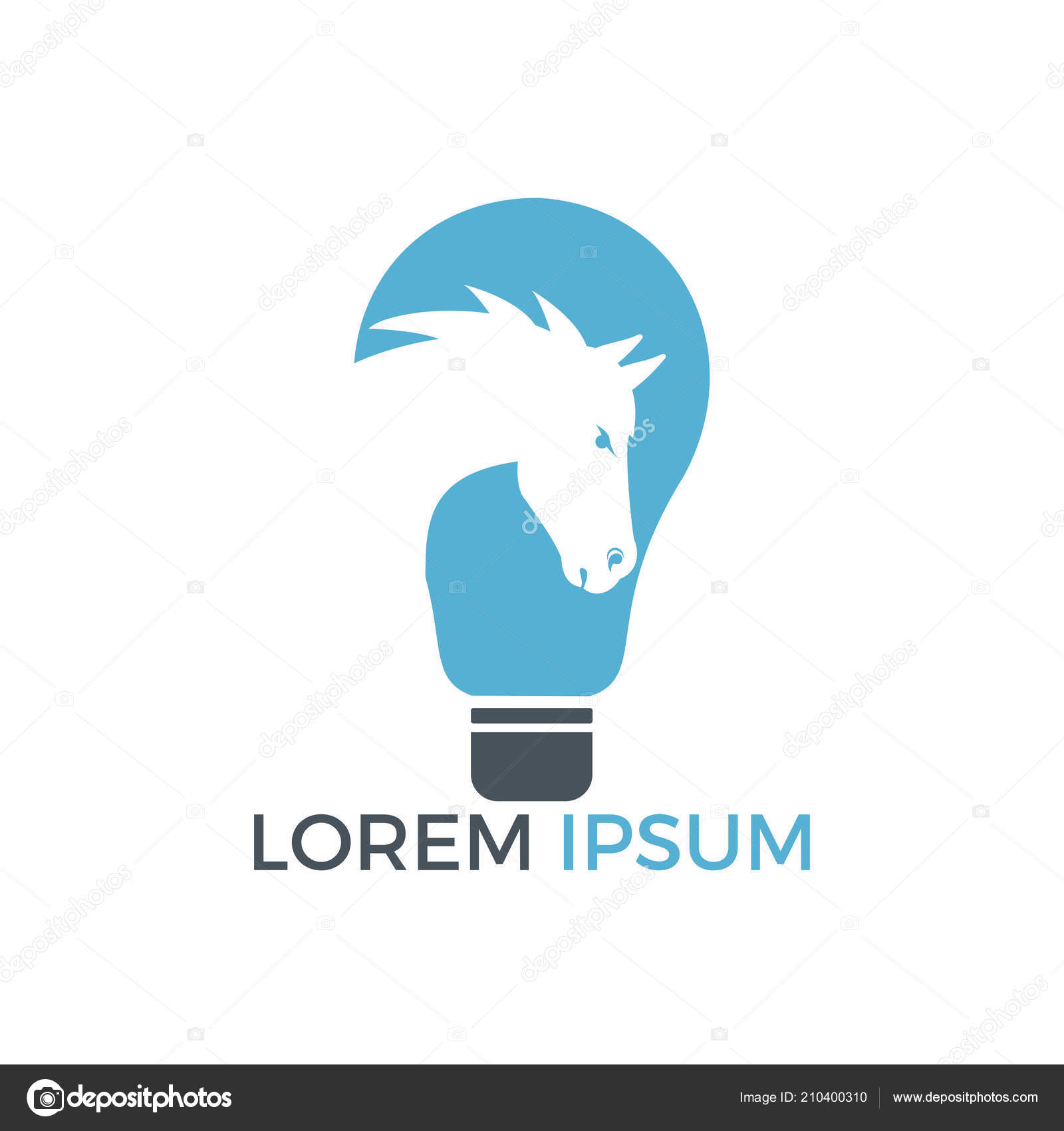 Light Bulb Horse Logo Design Wild Ideas Logo Concept Stock Vector C Irfankhanalvi 210400310