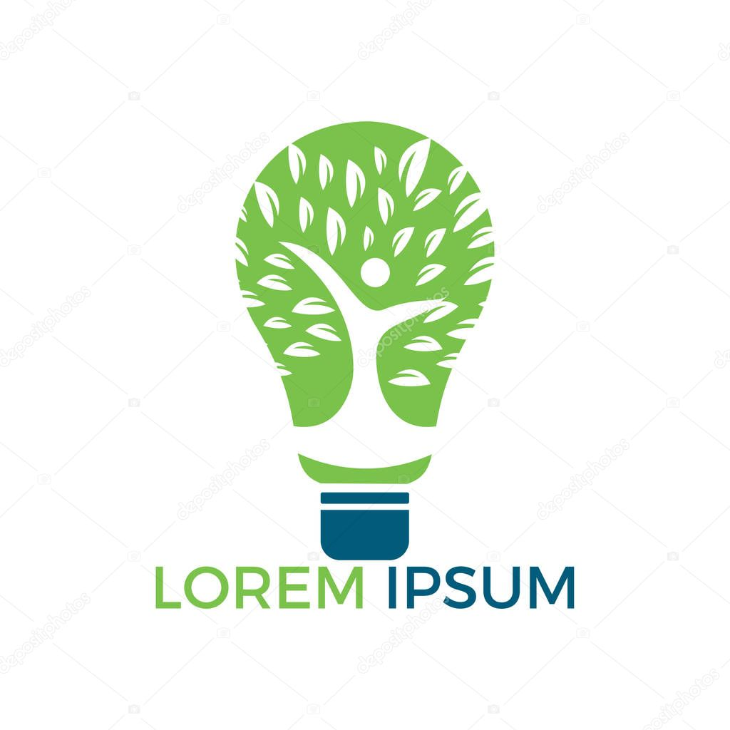Bulb lamp and people tree logo design. Human health and care logo design. Nature idea innovation symbol.