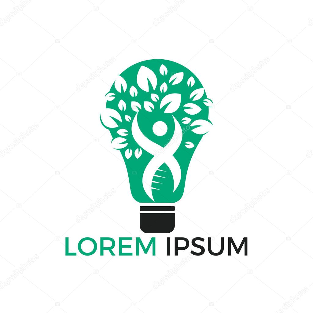 Human tree and light bulb logo design. Human health and care vector logo design template.