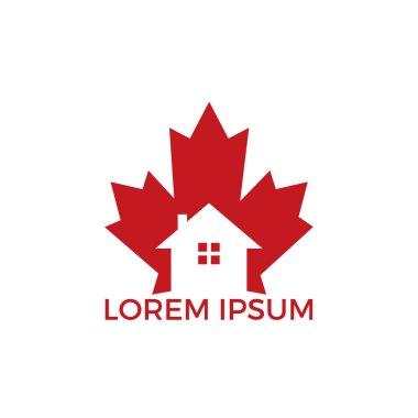 Maple leaf real estate vector logo. Maple leaf home icon.