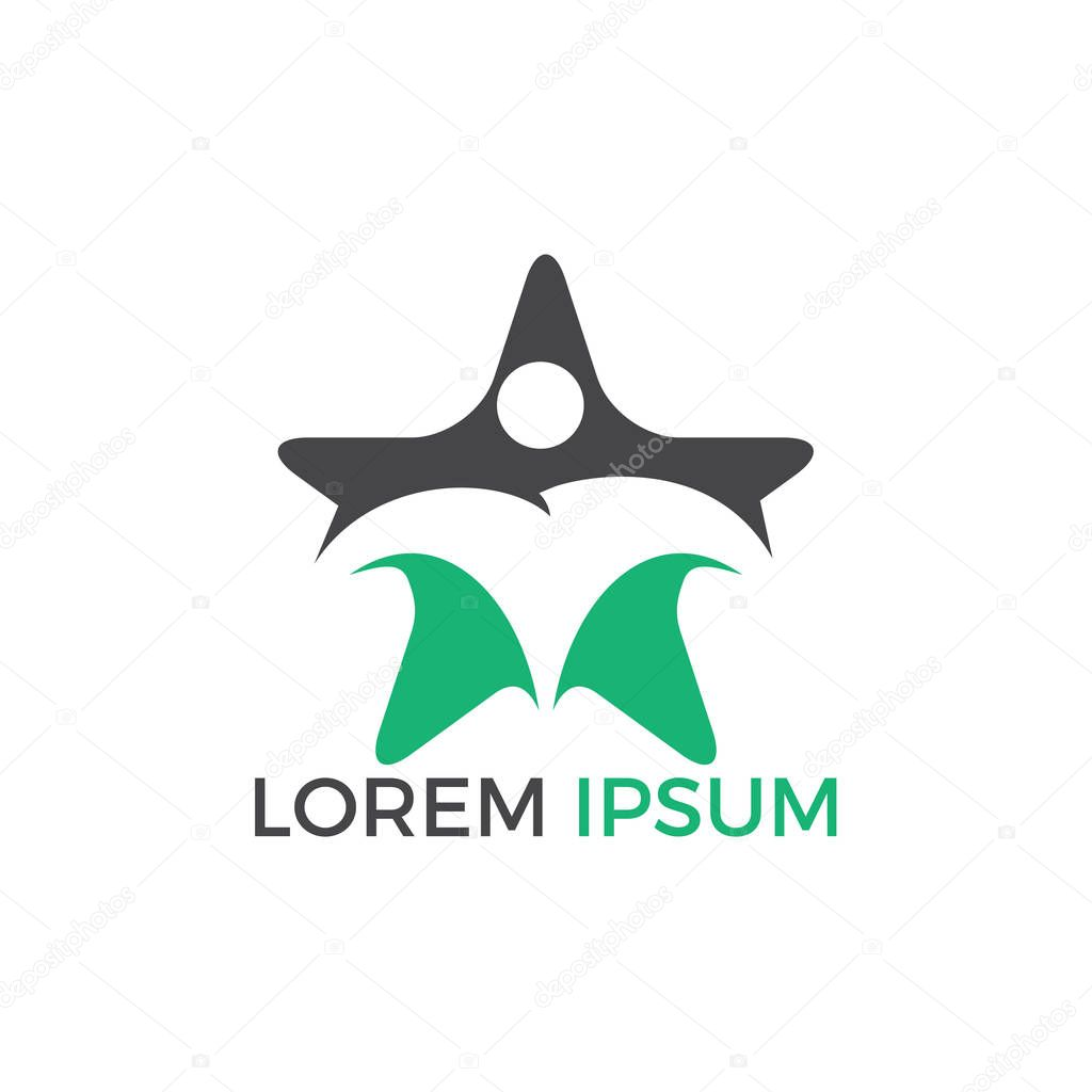 Human star creative logo design. Star people abstract vector emblem for education, social community and fitness.