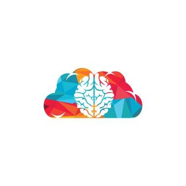 Cloud brain logo design vector icon. Digital brain logo.