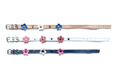 Colored adjustable dog collars with flowers on a white background.