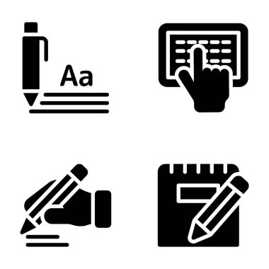 Copywriting solid icons pack here for your convenience to adopt and use as per your needs. These solid visuals are helpful in graphic designing, copywriting, temple making and so on.