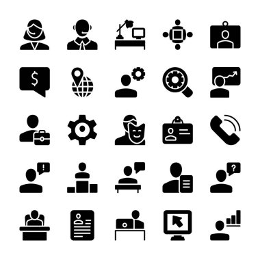 If you are looking for any business related icons, don't go anywhere here are some amazing visuals of meeting, workplace, solid icons pack to meet your business needs. Hold this set and use in related department.