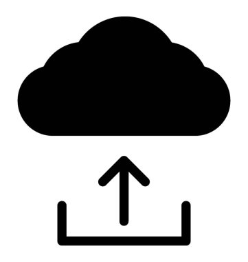 Cloud data uploading icon, solid vector