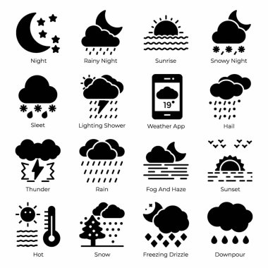 A mesmerizing weather filled icons pack is here having soothing visuals. Editable vectors are convenient for your design project. Hold it now icon