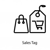 Shopping bag vector in line design