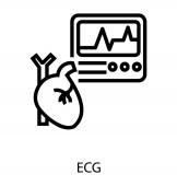 EKG-ikon vonalvektorban