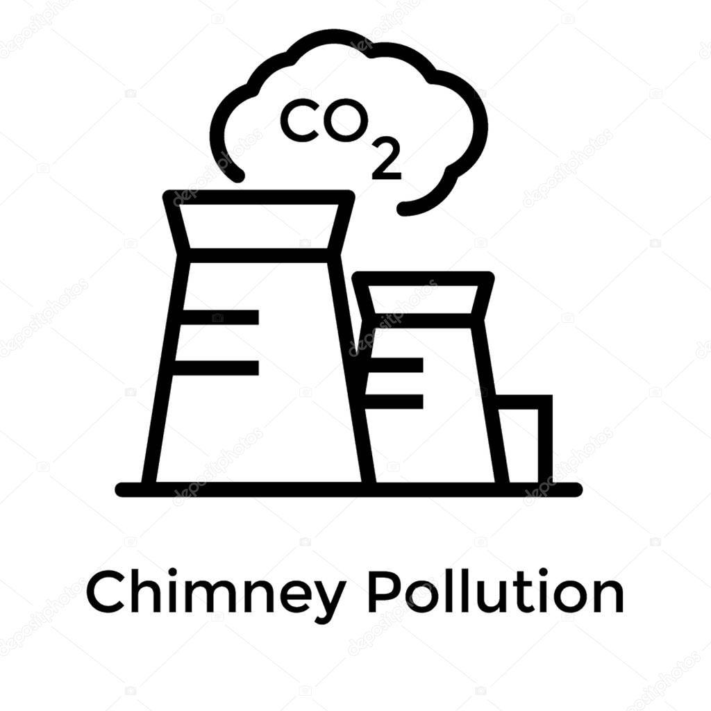Chimney pollution line vector design