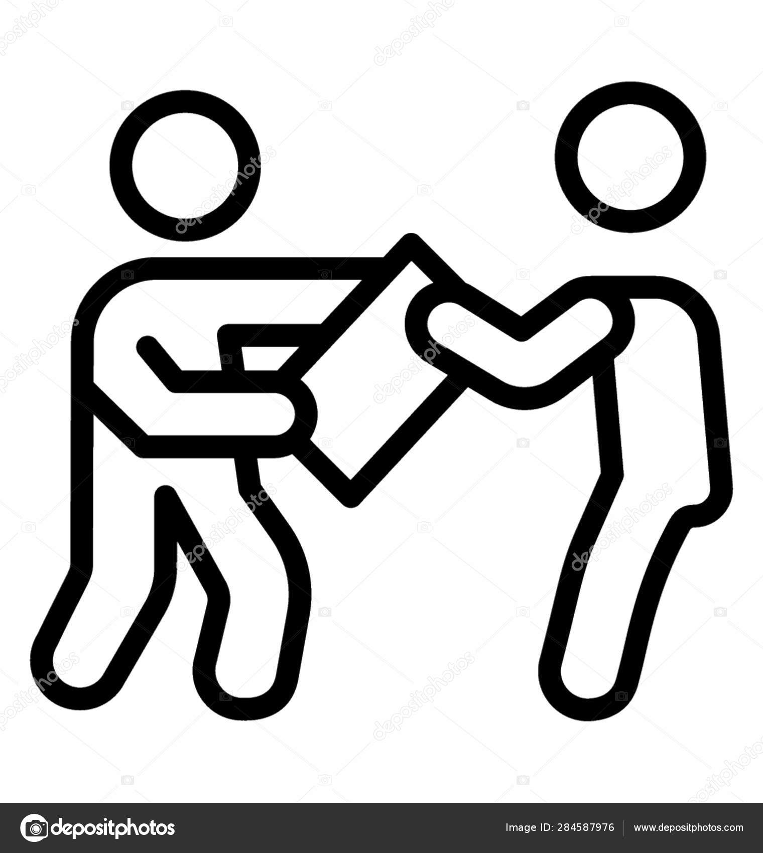 School Students Fighting School Line Pictogram — Stock
