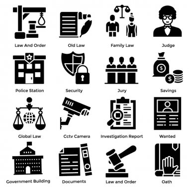 Law and justice solid icons set is here to meet your project needs. Editable vectors are here for your ease. If you will hold this set this will be beneficial for your next project.