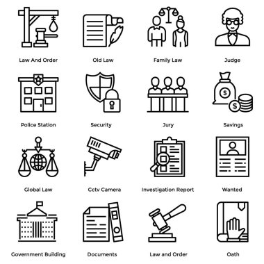 Law and justice line icons set is here to meet your project needs. Editable vectors are here for your ease. If you will hold this set this will be beneficial for your next project.