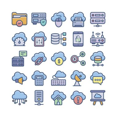 Cloud computing, cloud storage, and database flat vectors pack is here for your design need. Editable vectors are easy to use. If you hold this set it will be advantageous for your next project.