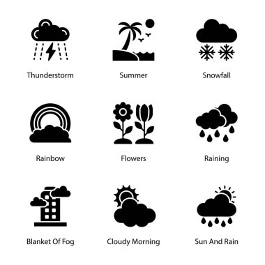 Weather solid icons pack having mesmerizing and eye soothing icons are here to enchant you in better way with these editable quality visuals. Weather forecast visuals are here for your. Hold it now! icon