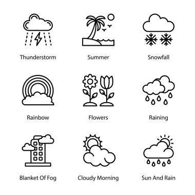 Weather line icons pack having mesmerizing and eye soothing icons are here to enchant you in better way with these editable quality visuals. Weather forcast visuals are here for your. Hold it now! icon