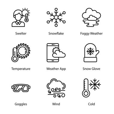 Weather climate line icons pack having mesmerizing and eye soothing icons are here to enchant you in better way with these editable quality visuals. Weather forecast visuals are her. Hold it now! icon