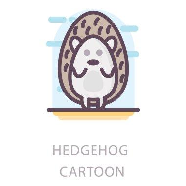Flat design of hedgehog cartoon icon