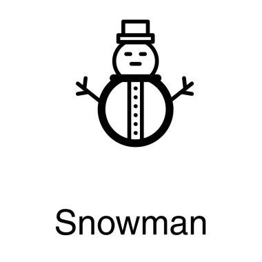 Winter snowman vector in line design
