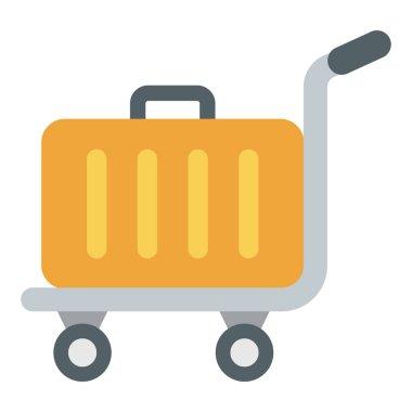 Luggage cart vector flat design
