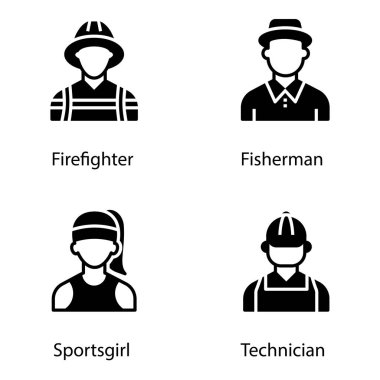 Pack of expert avatar glyph icons is displaying eye catching vectors in editable form which leads the features of individual professions best for your upcoming design assignments. Click on the download link. icon