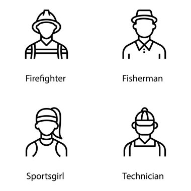 Pack of expert avatar line icons is displaying eye catching vectors in editable form which leads the features of individual professions best for your upcoming design assignments. Click on the download link. icon