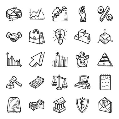 Graphical Data and Finance Hand Drawn Vectors Pack