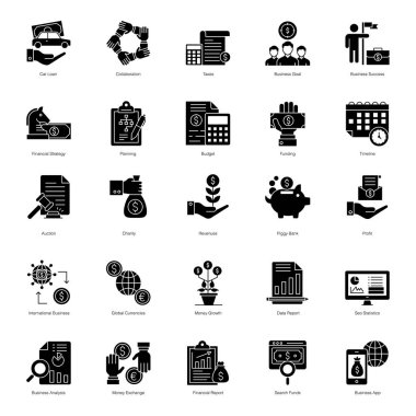 Online Business Solid Icons Pack icon