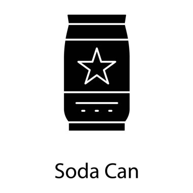 Tin pack icon, glyph vector of soda can icon