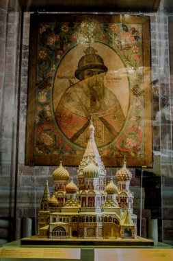 Moscow, 07/02/2019: icon and ornaments on the interior walls of Saint Basil's Cathedral, the world famous orthodox church in the Red Square, a museum where its allowed to take pictures