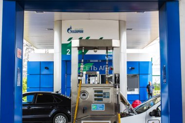 Kirov, Russia-June 21, 2020. Filling cars with compressed methane gas at a gas station of Gazprom.