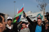 Február 26, 2012 Isztambul Törökország. a tüntetők a Taksim tér tiltakozók Khojaly tragédia történt Azerbajdzsánban az örmények.