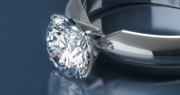 Solitaire Diamond Rings on Blue Background