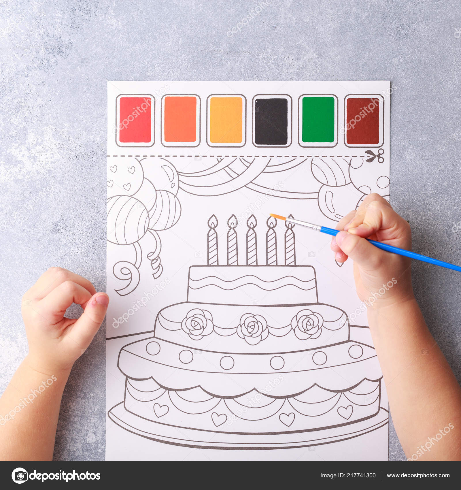 Grey Background Stationary Children Hands Color Picture Birthday