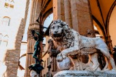 Fotografie beautiful statue of lion at famous Loggia dei Lanzi in Florence, Italy