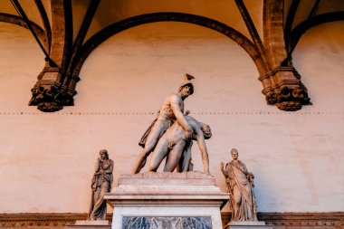 Sculpture of Menelaus supports Patroclus's body in Loggia de Lanzi, Florence stock vector