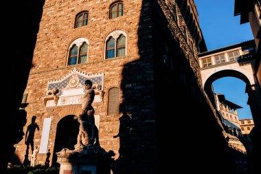 famous sculpture of David in Piazza Della Signoria, Florence, Italy