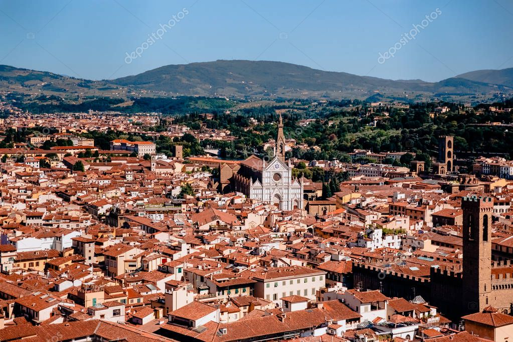 Cityscape with ancient historic buildings and rooftops in florence, italy