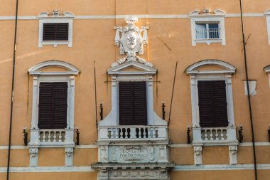 close up of beautiful house in old european city, Pisa, Italy