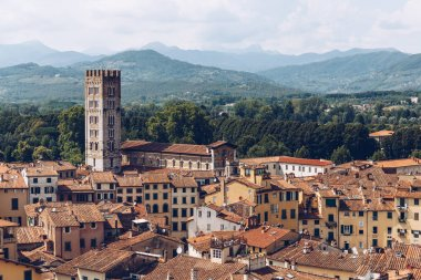 aerial view of roofs of ancient city and mountains, Pisa, Italy