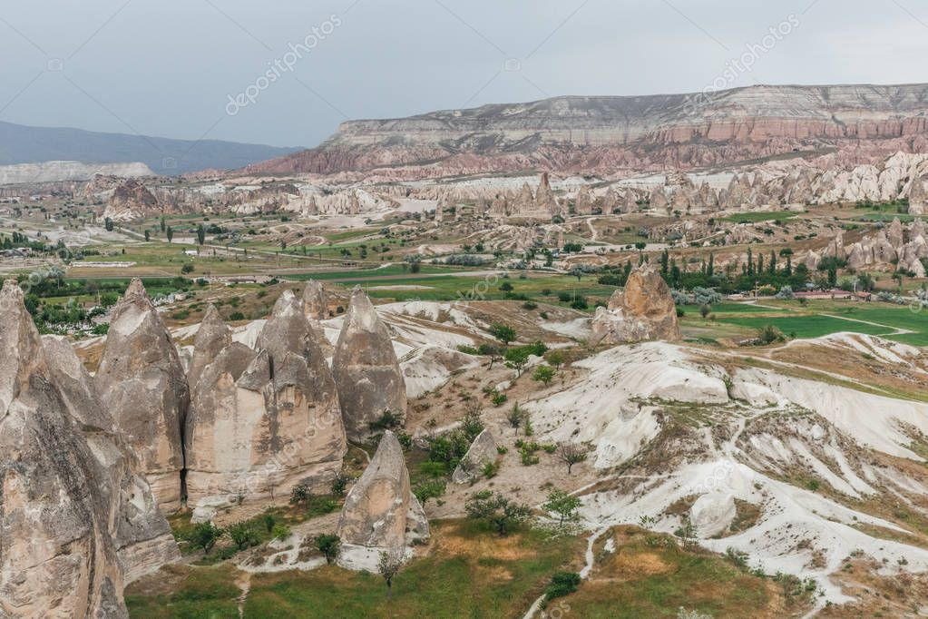 aerial view of majestic landscape in goreme national park, cappadocia, turkey