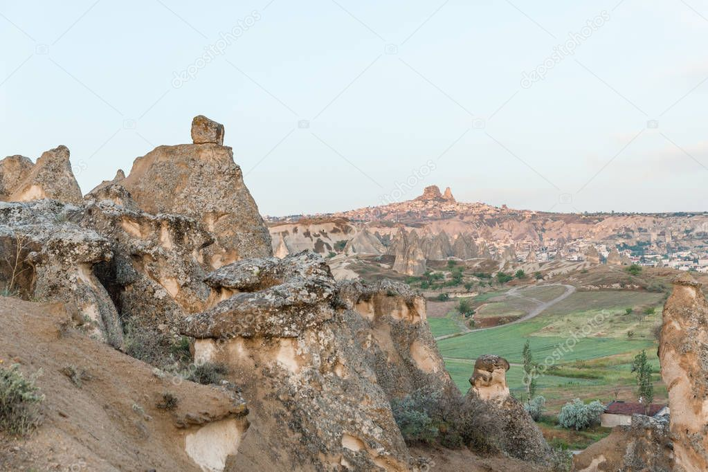 beautiful tranquil landscape with rock formations in famous cappadocia, turkey