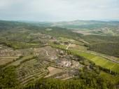 Letecký pohled na polí a kopce se stromy v provincii arezzo, Itálie