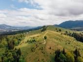 Letecký pohled na zelené louky a kopce v provincii arezzo, Itálie