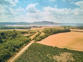 Aerial view of fields, river and mountains, Czech Republic