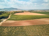 Photo Aerial view of agricultural fields, river and mountains, Czech Republic