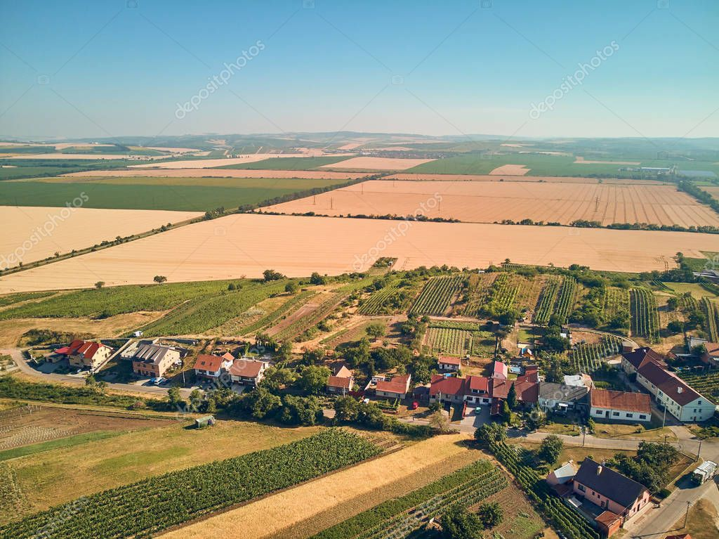 Aerial view of fields and houses, Czech Republic